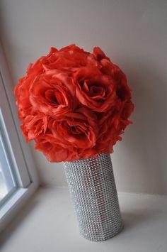 """Large 8"""" Coral Silk Rose Pomander on Etsy, $22.68 CAD"""