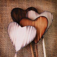 3 Rustic Heart Wands wedding favors woodland door RoxyHeartVintage
