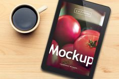 Black Tablet and Coffee PSD Mockup from http://covervault.com/