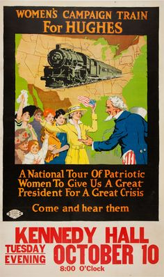 In 1916, former New York Governor Charles Evans Hughes campaigned for the presidency on the Republican Party ticket against incumbent Democratic President Woodrow Wilson. Hughes publicly endorsed a federal amendment to give women the vote; Wilson would not do so for another two years.