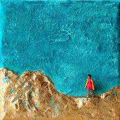 Turquoise Color, Handmade Art, Fascinator, Mountains, Abstract, Canvas, Outdoor Decor, Painting, Etsy