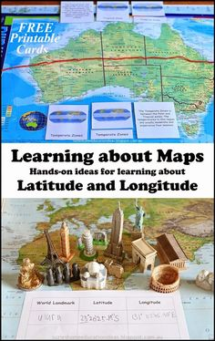 Learning about Maps - Hands-on ideas for learning about Latitude and Longitude PLUS FREE printable Montessori Inspired cards