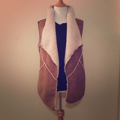Sheepskin Vest Size Medium Tan and Off White Never wore not real sheepskin but super soft Santuary Jackets & Coats Vests