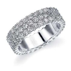A gorgeous 3 row diamond eternity ring with a prong setting from Eternity Wedding Bands