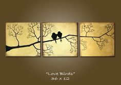 card design inspiration from Etsy: Custom Love Birds - 36 x 12, Acrylic painting canvas, gallery wrapped and ready to hang, ORIGINAL ...luv everything about it ... split panel ... sponged edges ... twiggy branch silhouette ... golden background ... mounted on chocolate wall ... gorgeous!!