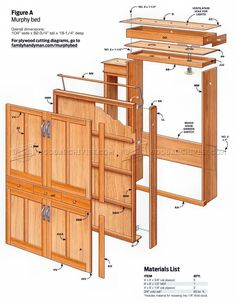 Build Murphy Bed - Furniture Plans and Projects - Woodwork, Woodworking, Woodworking Plans, Woodworking Projects Cama Murphy, Murphy Bed Desk, Best Murphy Bed, Murphy Bed Plans, Pine Furniture, Bed Furniture, Furniture Plans, Compact Furniture, Hideaway Bed