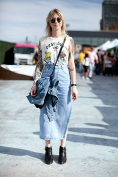 17 Of Brooklyn Flea's Most Stylish Thrifters #refinery29  http://www.refinery29.com/street-style-brooklyn-flea#slide-1  Tyler Broughton does '90s normcore in a Unif tank, midi-length vintage denim skirt, and black ASOS boots....