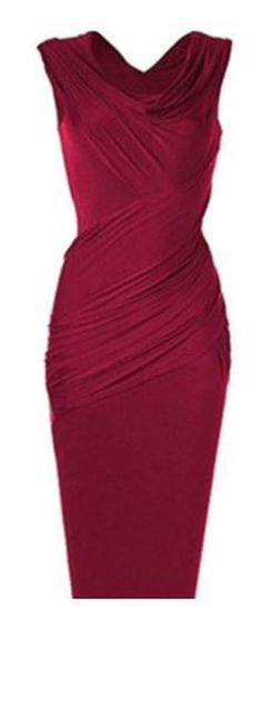 Love the Draping! Sexy Red Cowl Neck Sleeveless Pure Color Slimming Ruched BodyCon Party Dress For Women