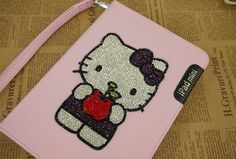 Swarovski Crystal Hello Kitty Leather iPad Mini Case with 360 Degrees Rotating Stand - Pink