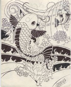 Koi Tattoo  by ~VAdamante -   Designs  Interfaces / Tattoo Design   (Japanese style tattoo, waves and koi fish)