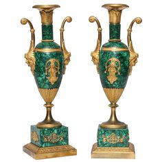 Pair of Neoclassical Empire Period Russian Malachite and Dore Bronze Vases