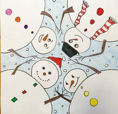 Perspective- step by step - how to draw snowmen at play Classroom Art Projects, School Art Projects, Art Classroom, Art 2nd Grade, Fourth Grade, Second Grade, Draw A Snowman, Snowman Crafts, Classe D'art