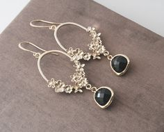 ON SALE Black and GoldBlack EarringsGold by lilabelledesign
