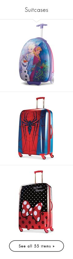 """""""Suitcases"""" by hello-my ❤ liked on Polyvore featuring bags, luggage, pink, marvel spider man print, disney, minnie mouse red bow print, disney finding dory print, mickey mouse face print, pocket bag and padded bag"""