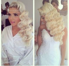 Hollywood inspired waves on long blonde hair, accompanied by a pearl headband