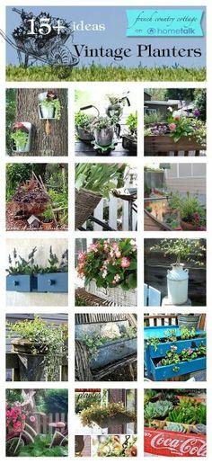 Vintage planters idea box by courtney Garden Crafts, Garden Projects, Vintage Planters, Garden Planters, Dream Garden, Container Gardening, Plant Containers, Amazing Gardens, Garden Inspiration