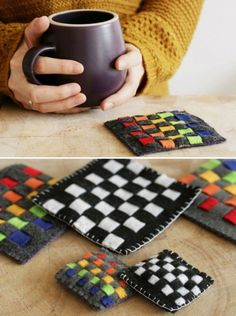 DIY Rainbow Woven Felt Coasters - These look so easy and beautiful - Henry Happened Crafts To Do, Felt Crafts, Fabric Crafts, Sewing Crafts, Crafts For Kids, Arts And Crafts, Diy Crafts, Felt Coasters, Diy Coasters