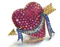 Enamelled brooch rubies, sapphires and yellow diamonds by Paul Flato, New York, circa 1938.