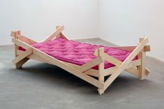 Autoprogettazione Bed #2 by Justin Beal is made of pine, cloth mattress, beet juice