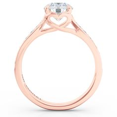 Custom Solitaire Ribbon Hearts Engagement Ring in Rose Gold, GIA certified Diamond and Diamond Pave by Bashert Jewelry Boca Raton Florida