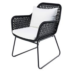 Garden armchair in black resin wicker with white cushions Cuzco Outdoor Chairs, Outdoor Furniture, Outdoor Decor, Outdoor Living, White Cushions, Sofa Seats, Table And Chair Sets, Design Moderne, Patio Table