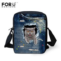 School Bags Luggage & Bags Straightforward Forudesigns Fashion Blue Denim Animal Print Preschool Student Small School Bags Novelty Girls Boys Book Bags Mini Messenger Bags