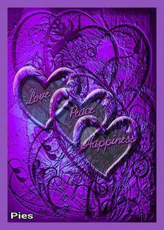 Love Peace Happiness - perfect on purple Purple Art, Purple Love, All Things Purple, Shades Of Purple, Pink Purple, Red And Blue, Purple Stuff, Heart Wallpaper, Purple Wallpaper