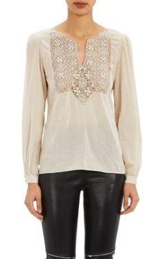 SAINT LAURENT Crocheted-Bib Blouse. #saintlaurent #cloth #blouse