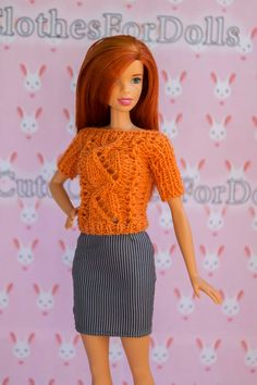108bb7f85b64 Barbie clothes knitted blouse Barbie orange blouse Barbie blue Orange  Blouse
