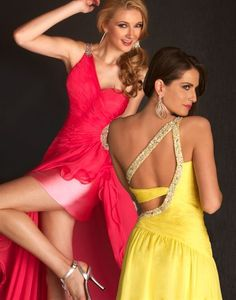 high low floor length one shoulder dress with sequins red or yellow