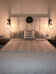 New Farmhouse Bedroom Lamps Headboards 35 Ideas Headboard Designs, Bed Design, Home, Home Furniture, Headboard From Old Door, Bedroom Design, Farmhouse Headboard, Remodel Bedroom, Rustic Bedroom