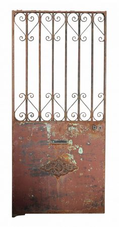 Antique French Wrought Iron Side Gate Distressed paint finish. Height 216 cm…