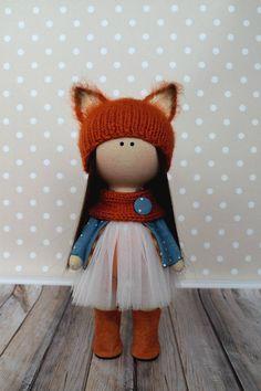 Foxy Winter Tilda Doll Handmade Textile Doll Rag Baby Doll Soft Unique Doll Red Fabric Doll Muñecas Art Doll Bambole di stoffa by Olga G _____________________________________________________________________________________ Hello, dear visitors! This is handmade cloth doll created