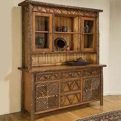 mountain rustic twig display hutches | Mosaic China Hutch by Flat Rock Furniture