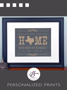 Family home state wall decor with family name, est. date and city-state.