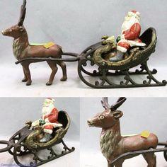 "Vintage painted Cast Iron Santa + sleigh and reindeer; 13"" long. Bids close Thurs, 3 Nov from 11am ET. http://bid.cannonsauctions.com/cgi-bin/mnlist.cgi?redbird77/812"