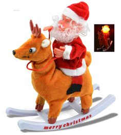 Power the switch on and enjoy listening to Santa's song. Enjoy watching how Santa shakes on his Deer while Santa's face shines up with the light. Give this cute item to your close ones and stand it up on the Christmas table. #Wolvol #Electronictoy
