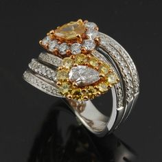 18K White Gold Diamond Bypass Ring in Jewelry & Watches, Fine Jewelry, Fine Rings | eBay