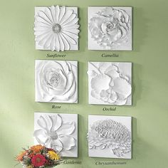 Blossom Wall Art - great inspiration for paper or plaster dipped flowers or clay flowers on canvas!