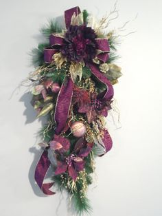 Christmas Winter Swag Burgundy and Gold by HungUpOnWreaths on Etsy,