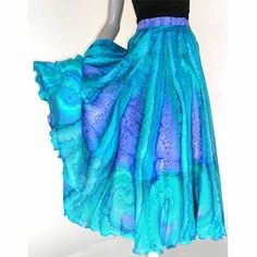 Circle Skirt, Hand Painted Silk, Hand Dyed Skirt, 100% Silk, Aqua Cerulean, Cobalt Ultramarine, Turquoise Teal, One of a Kind, Jossiani