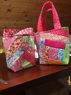Tote bags inspired by a tutorial by Missouri Star Quilt Company.