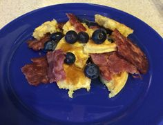 Breakfast!!! Bacon, blueberries and waffles