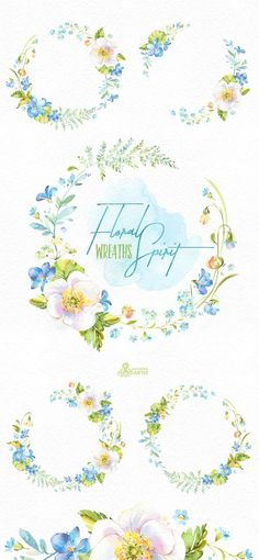 This Floral Spirit set of hand painted watercolor Wreaths. Perfect graphic for diy projects, wedding invitations, greeting cards, photos, posters, quotes and more. ----------------------------------------------------------------- INSTANT DOWNLOAD Once payment is cleared, you can download