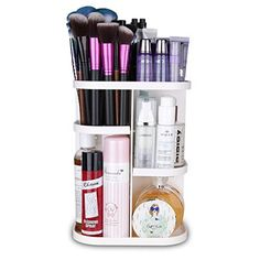 Herwiss 360 Rotating Makeup Organizer for Cosmetic, Brushes, Lipstick, Essential Oils Organization- Space-saving Large Capacity Versatile Adjustable - Great for Bathroom, Vanity and Countertop