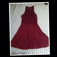 Burgundy lave dress Burgundy lace sweetheart top Hollister Dresses Mini