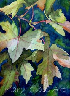 plant patterns in nature Watercolor Negative Painting, Watercolor Leaves, Watercolor Landscape, Landscape Art, Fruit Painting, Silk Painting, Mary Gibbs, Art Aquarelle, Watercolor Pictures