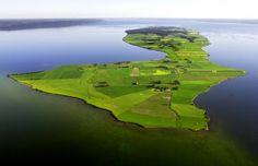 The long narrow island Visingsö (outside Gränna & Jönköping) in the middle of Lake Vättern, a very deep lake in my home county