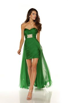 Emerald Chiffon Strapless Sweetheart Short Homecoming Dress with Train - Unique Vintage - Cocktail, Pinup, Holiday & Prom Dresses.