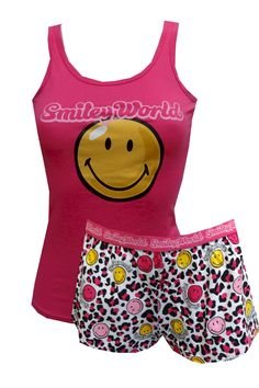 Smiley World Animal Print Shortie Pajama Set  Guaranteed to put a smile on your face, these shortie pajama sets for women feature the original classic smiley face on a bright pink tank top. The tank is paired with coordinating animal printed shorts. Machine washable and easy to care for. Junior cut. $25